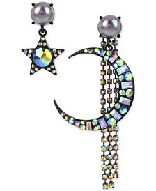Betsey Johnson Hematite-Tone Bead & Crystal Celestial Mismatch Drop Earrings