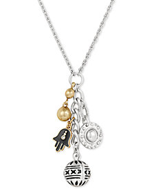 "Lucky Brand Two-Tone Hamsa Charms Pendant Necklace, 22"" + 2"" extender, Created for Macy's"