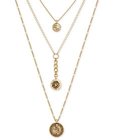 Lucky Brand 3-Layer Charm Necklace, Created for Macy's
