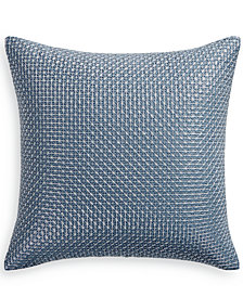 "Hotel Collection Cascade 300-Thread Count Blue 18"" Square Decorative Pillow, Created for Macy's"