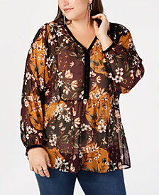 Style & Co Plus Size Printed Sheer Blouse, Created for Macy's