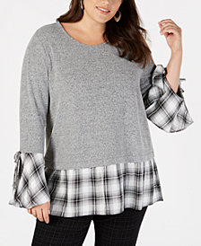 Style & Co Plus Size Bell-Sleeve Layered-Look Top, Created for Macy's