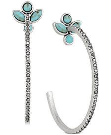 "Lucky Brand Silver-Tone Crystal & Stone Flower 1-1/2"" Open Hoop Earrings, Created for Macy's"