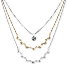 "Lucky Brand Two-Tone Crystal Triple-Layer Necklace, 17"" + 2"" extender"
