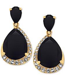 Onyx (11 x 9mm, 6 x 4mm) & White Topaz (3/8 ct. t.w.) Drop Earrings in 14k Gold-Plated Sterling Silver