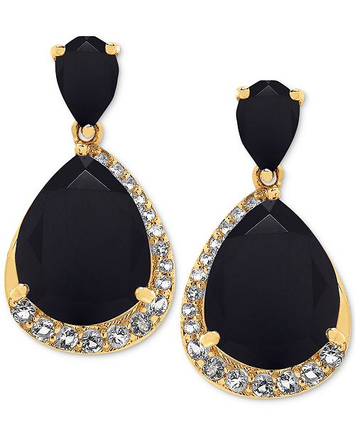 Macy's Onyx (11 x 9mm, 6 x 4mm) & White Topaz (3/8 ct. t.w.) Drop Earrings in 14k Gold-Plated Sterling Silver