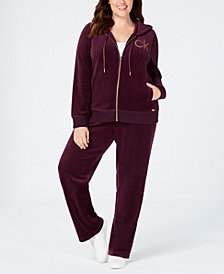 Calvin Klein Plus Size Velour Embellished Hoodie and Wide Leg Pants