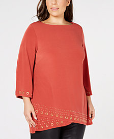 JM Collection Plus Size Hardware-Embellished Tunic Top, Created for Macy's
