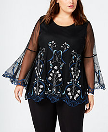 Alfani Plus Size Embellished Bell Sleeve Top