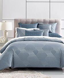 Hotel Collection Cascade Cotton 400-Thread Count Blue King Duvet Cover, Created for Macy's