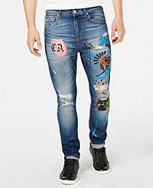 GUESS Men's Utility Fit Ripped Graphic Jeans