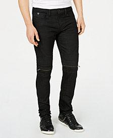GUESS Men's Slim Tapered Black Moto Jeans