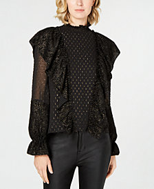 Rachel Zoe Sienna Textured Mock-Neck Top