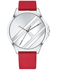 Tommy Hilfiger Women's Red Leather Strap Watch 38mm Created for Macy's