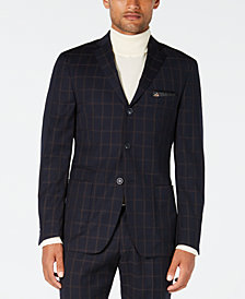 Tallia Men's Slim-Fit Navy/Brown Windowpane Wool Suit Jacket