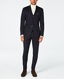 Tallia Men's Slim-Fit Navy/Brown Windowpane Wool Suit Separates