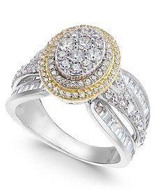 Diamond Two-Tone Oval Cluster Ring (2 ct. t.w.) in 14k Gold & White Gold