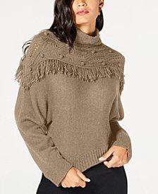 Rachel Zoe Andie Mock-Neck Fringe Sweater