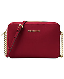 Michael Kors Jet Set East West Crossgrain Leather Crossbody