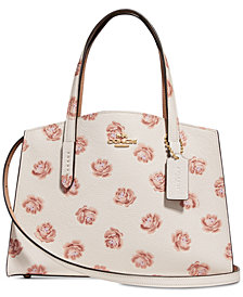 COACH Rose Print Charlie 28 Small Satchel