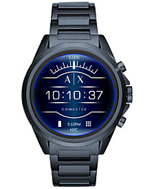 A|X Armani Exchange Men's Connected Blue Stainless Steel Bracelet Touchscreen Smart Watch 48mm
