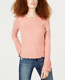 American Rag Juniors' Lace-Up Ribbed Top, Created for Macy's