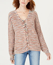 American Rag Juniors' Multicolored Lace-Up Sweater, Created for Macy's
