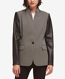 DKNY Faux-Leather-Sleeve Blazer, Created for Macy's