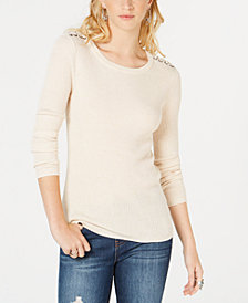 Hippie Rose Juniors' Long-Sleeve Ribbed Lace-Up Sweater