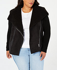 Style & Co Faux Shearling Knit-Sleeve Jacket, Created for Macy's