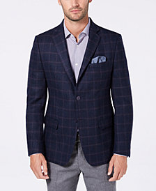 Michael Kors Men's Classic/Regular Fit Blue/Wine Windowpane Wool Sport Coat
