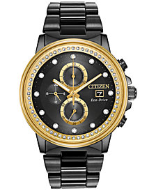 Citizen Eco-Drive Men's Chronograph Nighthawk Chandler Black Stainless Steel Bracelet Watch 42mm