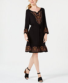Style & Co Embroidered Lantern-Sleeve Dress, Created for Macy's