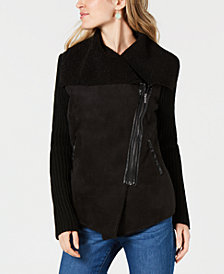 Style & Co Petite Faux-Sherpa Knit Drape-Front Moto Jacket, Created for Macy's