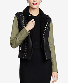 RACHEL Rachel Roy Faux-Fur-Lined Moto Jacket, Created for Macy's