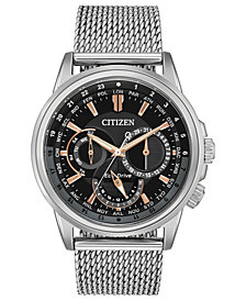 Citizen Eco-Drive Men's Calendrier Stainless Steel Mesh Bracelet Watch 44mm