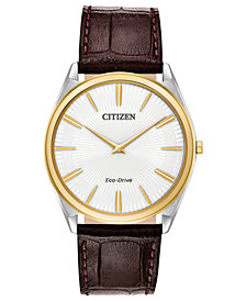 Citizen Eco-Drive Men's Stiletto Brown Leather Strap Watch 38mm