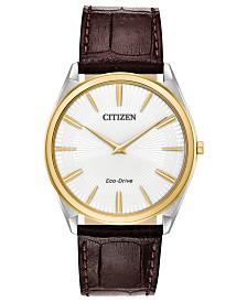 Citizen Eco-Drive Men's Stiletto Brown Leather Strap Watch 38mm