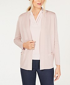Open-Front Cardigan & Pleat-Detail Shell