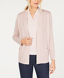 Anne Klein Open-Front Cardigan & Pleat-Detail Shell