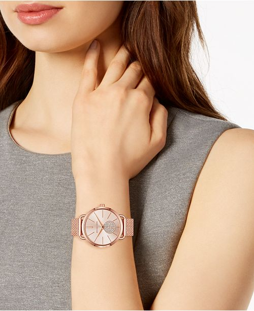 d0e4380ed326 ... Michael Kors Women s Portia Rose Gold-Tone Stainless Steel Mesh  Bracelet Watch 37mm ...