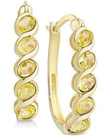 Multi-Gemstone Hoop Earrings (1-5/8 ct. t.w.) in 18k Gold-Plated Sterling Silver (Also in Peridot, Rhodolite Garnet, Citrine, Blue Topaz & Amethyst)