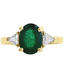 Gemstone Bridal by EFFY® Emerald (1-1/2 ct.t.w.) & Diamond (1/4 ct. t.w.) Ring in 18k Gold
