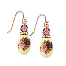 2028 Rose Gold Tone Purple Crystal Bead Flower Drop Earrings