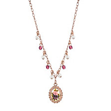 "2028 Rose Gold-Tone Simulated Pearl Purple Crystal Flower Pendant Necklace 16"" Adjustable"