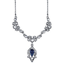 "2028 Silver-Tone Blue Color and Crystal Belle Epoch Drop Necklace 16"" Adjustable"