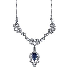 "Downton Abbey Silver-Tone Blue Color and Crystal Belle Epoch Drop Necklace 16"" Adjustable"