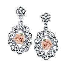 2028 Silver-Tone Crystal and Pink Porcelain Rose Drop Earrings