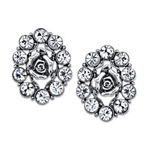 2028 Silver-Tone Flower Crystal Button Earrings