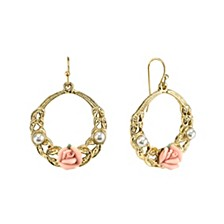 """Gold-Tone Pink Porcelain Rose with Simulated Pearl Front Face 1 1/2"""" Medium Hoop Earrings"""